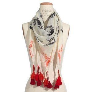 Madewell Gauzy tassel Jackalope animal print scarf
